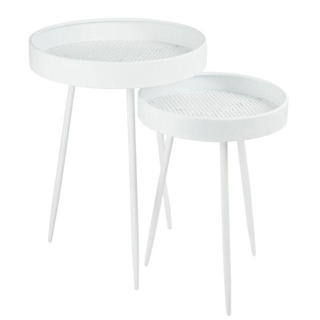 Tousmesmeubles Tables gigognes Blanc - Nebob - L 50 x l 50 x H 68