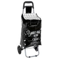 Promobo - Chariot De Courses A Roulettes Design Bistrot Menu Du Chef Noir 30L