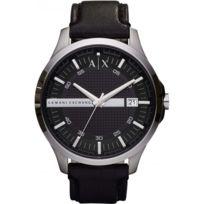 Armani Ea7 - Montre Armani Exchange Ax2101 - Montre Dateur Cuir Noire Homme 3c2a77e4f2d