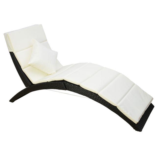 HOMCOM - Bain de soleil lit transat courbe salon de jardin chaise ...
