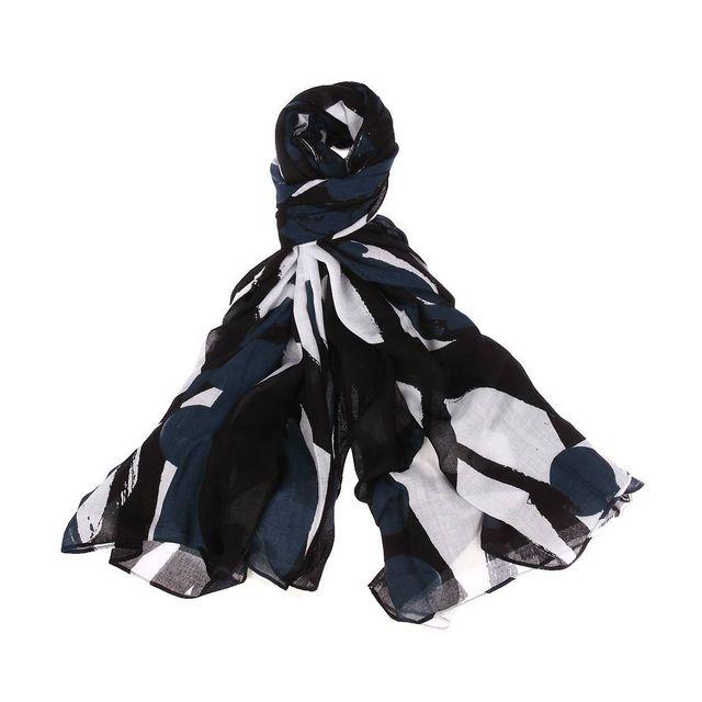 329826fe2883 Antony Morato - Chèche noir à motifs géométriques bleus et blancs - pas  cher Achat   Vente Echarpes, foulards - RueDuCommerce