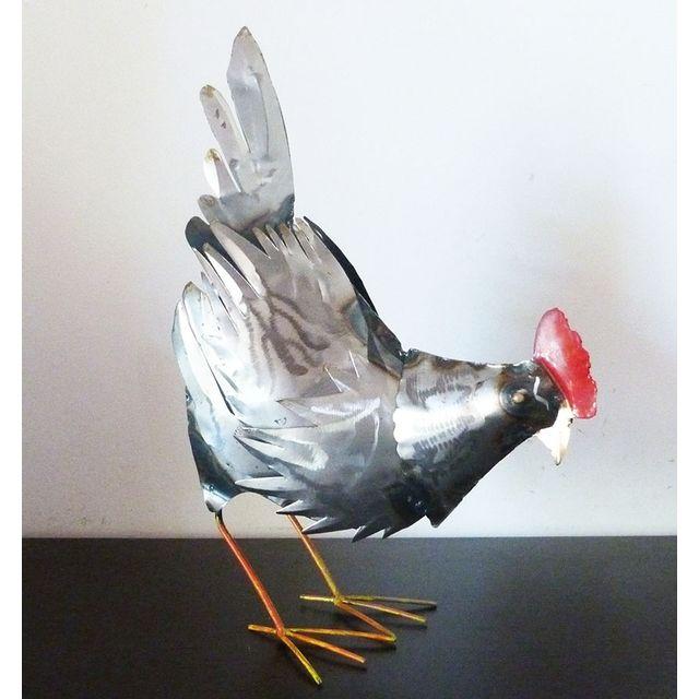 Les Animaux De La Fee Poule picore métal recyclé 35 cm
