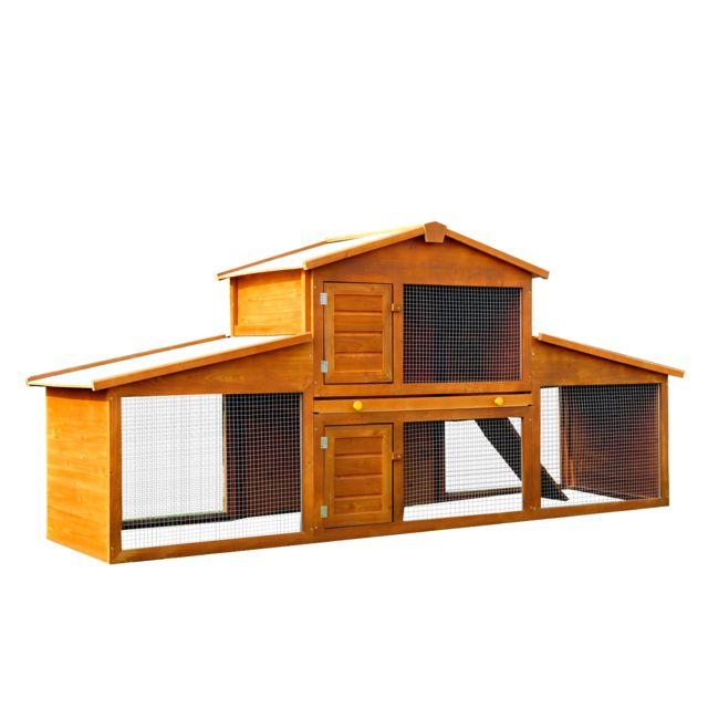 HOMCOM - Cage a lapin poulaillier clapier en bois rongeur grande taille  avec 2 etages 215x63x100 56ddface00f7