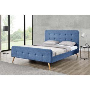 concept usine lit lanka cadre de lit scandinave bleu avec pieds en bois 140x190 140cm x. Black Bedroom Furniture Sets. Home Design Ideas