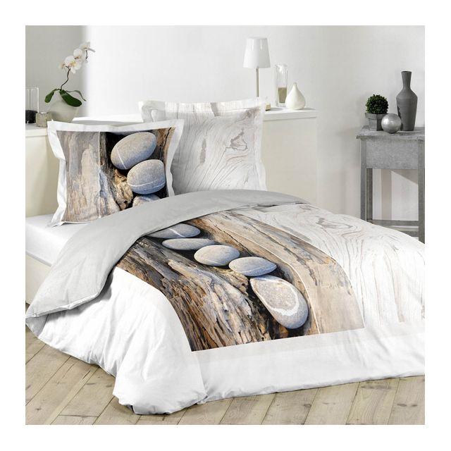 eminza housse de couette et deux taies 260 cm mineral pas cher achat vente housses de. Black Bedroom Furniture Sets. Home Design Ideas