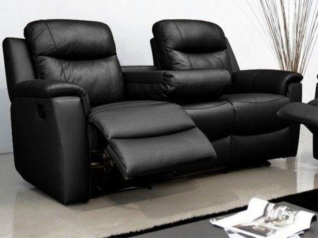 Marque Generique Canapé 3 places relax Evasion en cuir - Noir