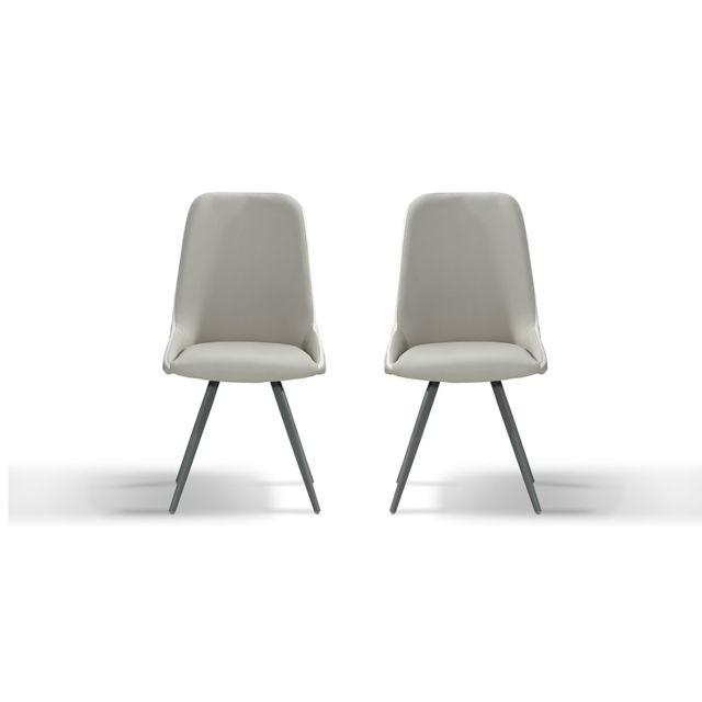 La Maison Du CanapÉ Chaise Design Isora - Gris/Taupe - Lot de 2