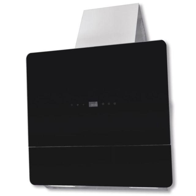 Vidaxl Hotte en verre trempé noir avec affichage 600 mm