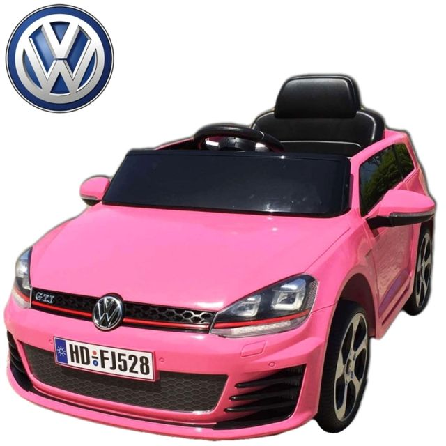 volkswagen voiture lectrique enfant roues led golf gti rose 12 volts t l commande parentale. Black Bedroom Furniture Sets. Home Design Ideas