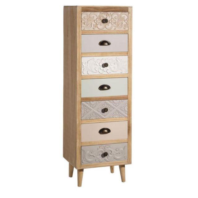 Tousmesmeubles Semainier 7 tiroirs Bois - Pastello - L 38 x l 31 x H 120