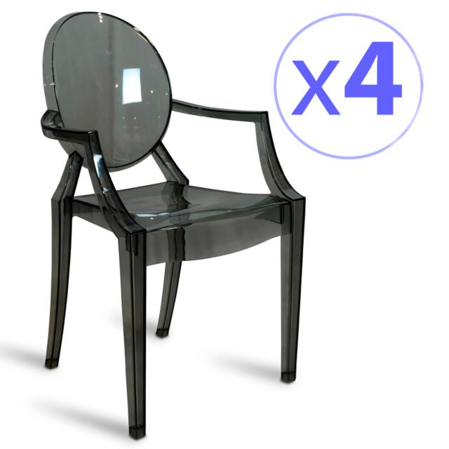 Novara mobili pack 4 sillas louis ghost style smoke negro noir pas cher achat vente - Chaise louis ghost pas cher ...