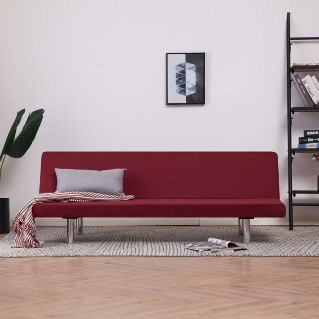 Vidaxl Canapé-lit Rouge bordeaux Polyester