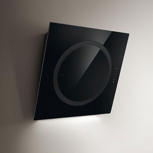 Elica Hotte cuisine murale verre noir Om Air 75 cm