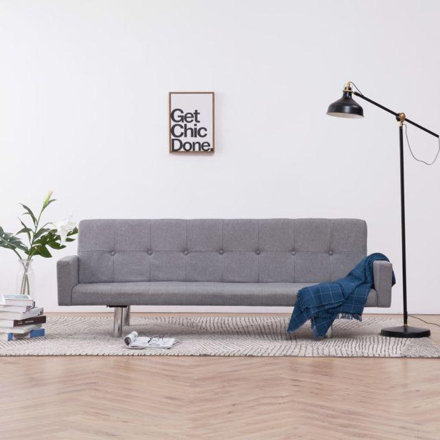 Vidaxl Canapé-lit avec accoudoir Gris clair Polyester
