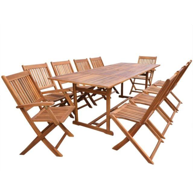 Vidaxl Mobilier à dîner d'extérieur 11 pcs Bois d'acacia solide