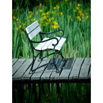Garden - Banc de jardin blanc en bois et aluminium 180 cm avec accoudoirs