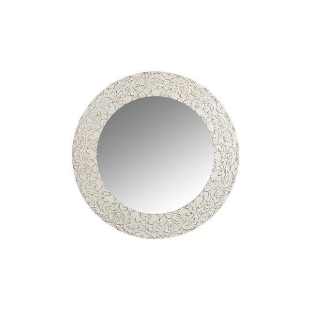 miroir rond 80diam en bois blanc pas cher achat vente miroirs rueducommerce. Black Bedroom Furniture Sets. Home Design Ideas