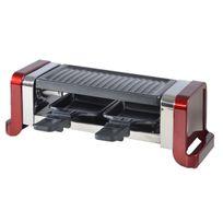 No Name - kitchen chef - appareil à raclette 2 personnes 450w + pierre à griller rouge - gr202r