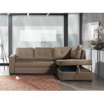 Modern sofa - Canapé d'angle convertible droit taupe