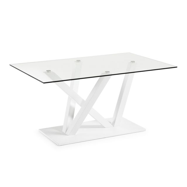 Kavehome Table Nyc 180x100, epoxy blanc et verre transparent