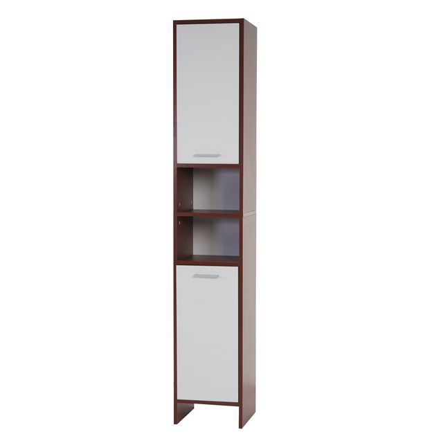 mendler armoire haute arezzo armoire de salle de bain 56x60x28cm marrons portes blanches. Black Bedroom Furniture Sets. Home Design Ideas