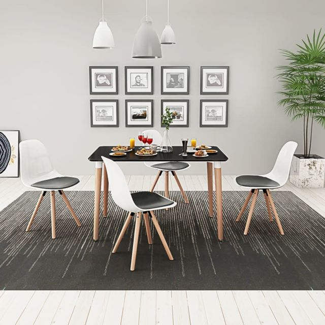 Vidaxl Ensemble de table et chaise de salle à manger 5 pcs Noir et blanc