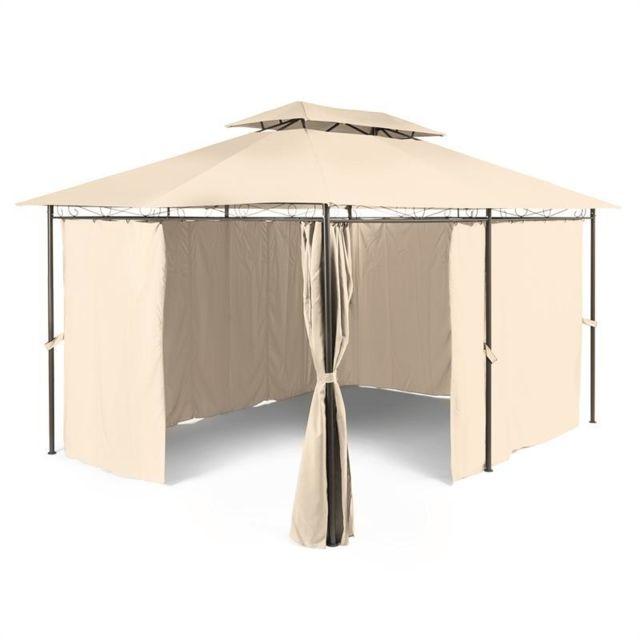 BLUMFELDT Grandezza Tente pavillon de jardin 3x4m acier polyester - beige