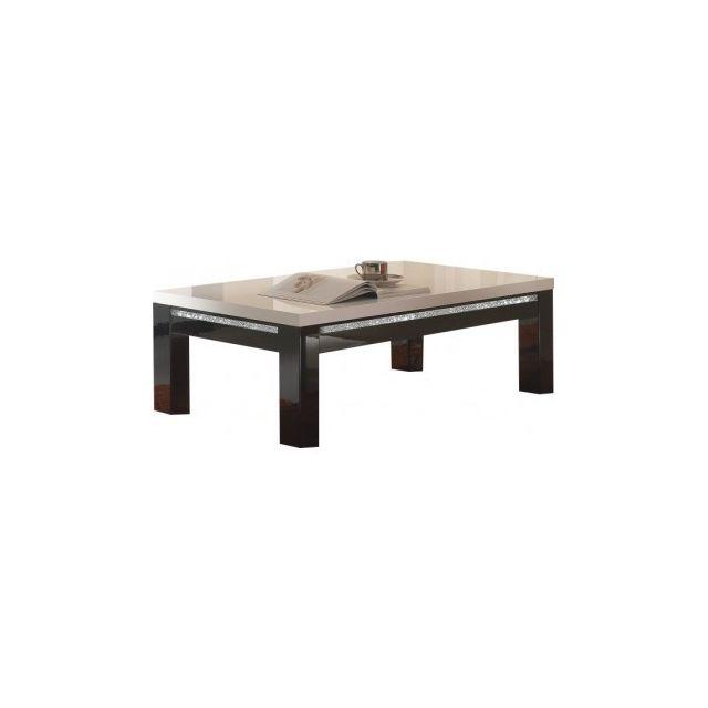 Decodesign Table Basse Carre Cromo Laque Noir Blanc Pas Cher
