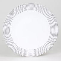 Table Passion - Assiette plate en grès motif cercles irréguliers noir D.27cm - Lot de 6 Curve