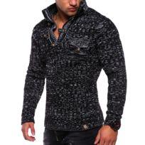 Monsieurmode - Pull fashion pour homme Pull tz406 noir