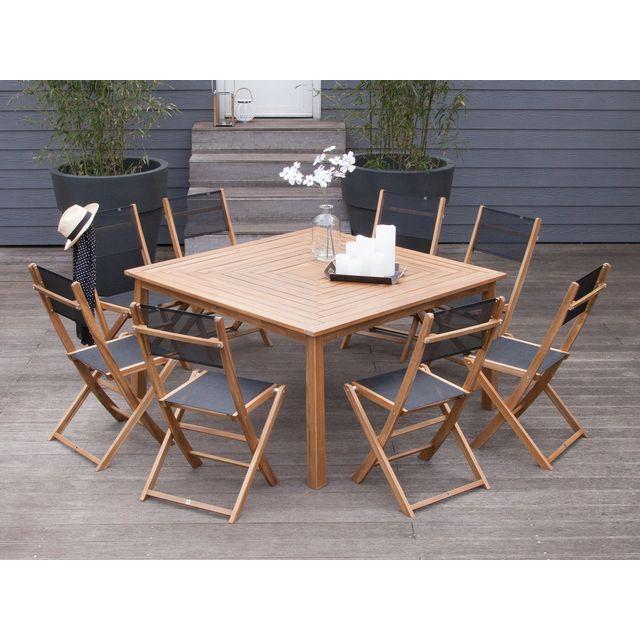 Marque generique salon de jardin 8 places 1 table carr en acacia fsc 8 chaises pliantes - Salon de jardin marque jardin ...