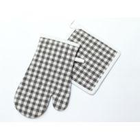 Soleil D'OCRE - Manique et gant de cuisine en coton Vichy Gris