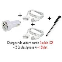 Cabling - Chargeur allume cigare + 2 câbles Usb pour Apple iPhone 3G / 3GS, iPhone 4 / 4S, iPod Touch 4, 5 et 6 Nano + Stylet
