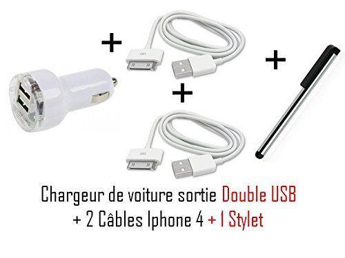 Cabling - Chargeur Voiture double Usb + 2 câbles Usb Pour Apple iPhone iPod Nano Touch Mp3 Mp4 , Iphone 3, Iphone 3GS, Iphone 4 Chargeur secteur Usb pour Apple iPhone iPod Nano Touch Mp3 Mp4 , Ipho + Stylet