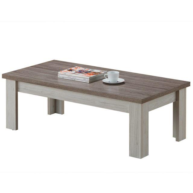 Nouvomeuble Table de salon 120 cm couleur chêne clair et marron Elana