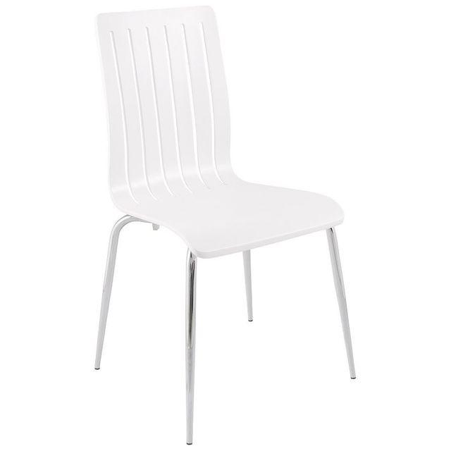 Alterego Chaise moderne 'WIND' en bois blanc