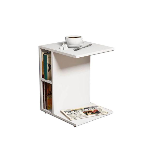 Homemania Bout de canapé Ceylin - L. 45 x H. 57,5 cm - Blanc