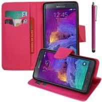 Vcomp - Housse Coque Etui portefeuille Support Video Livre rabat cuir Pu effet tissu pour Samsung Galaxy Note 4 Sm-n910F/ Note 4 Duos Dual Sim, N9100/ Note 4 CDMA, / N910C N910W8 N910V N910A N910T N910M + stylet - Rose