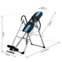 HOMCOM - Table d'inversion de musculation pliable ceinture de sécurité réglable acier coloris argent noir neuf 53