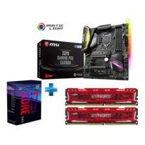INTEL - Processeur i7-8700K -Socket 1151 - 3.7 Ghz - Cache 12M - Coffee Lake + Carte mère ATX - Socket LGA1151 - Chipset Z370 + Ballistix Sport LT Kit 16 Go 2 x 8 Go, DDR4-2400 CL16 16-16-16, 1,2 V PC4-19200 -Rouge