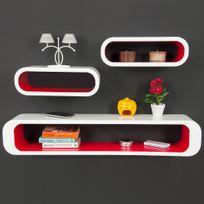 Rocambolesk - Superbe Lot De 3 Étagères Cubes - Finition Brillante Rouge-Blanc - Rétro - Bibliothèque neuf