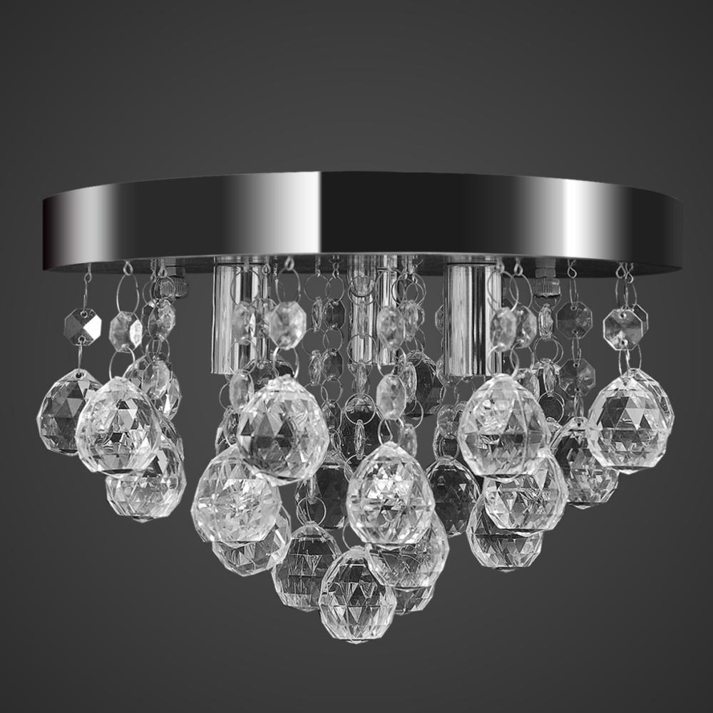 Vidaxl - Lustre plafonnier contemporain cristal lampe chromé