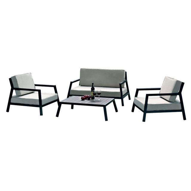 HABITAT ET JARDIN - Salon de jardin Modena - 1 canapé + 2 fauteuils + 1 table basse Aluminium