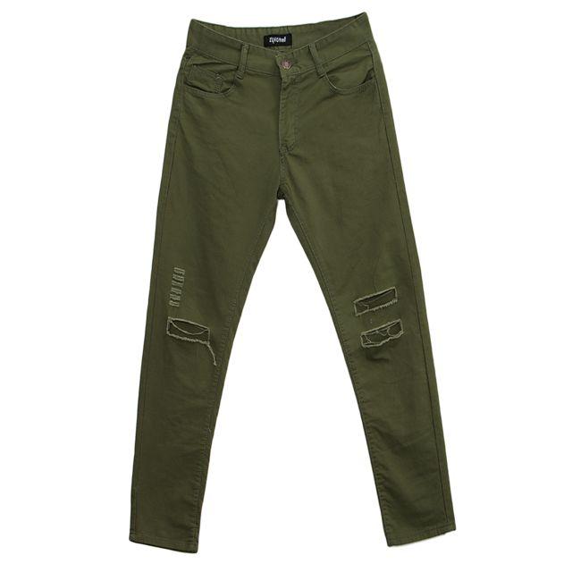 >Hommes rétro slim fit déchiré trou pantalon jeans droit denim pantalons 2xl vert