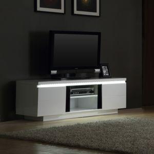 axe design - meuble tv bas en bois 2 portes 2 niches avec leds ... - Axe Design Meuble