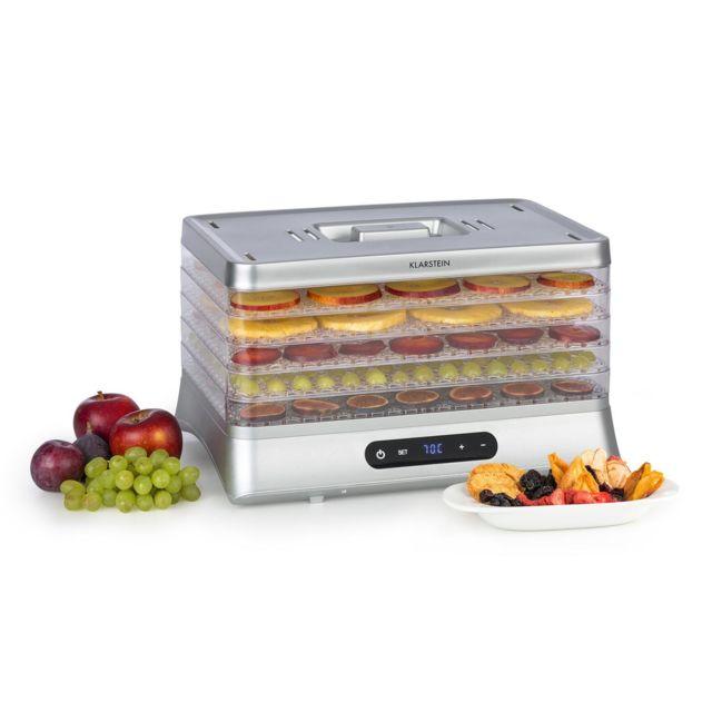 KLARSTEIN Silver Déshydrateur alimentaire 500W sans BPA - Température réglable de 35 à 70 °C - Ecran LED - Argent