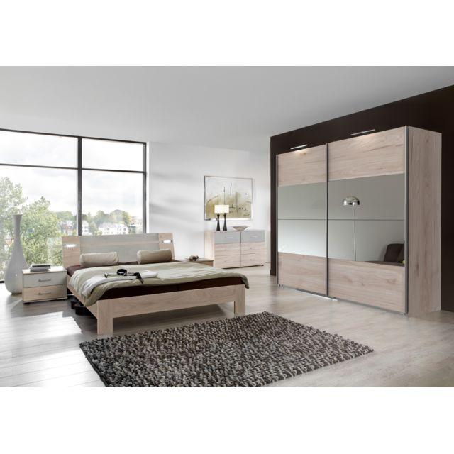 Ensemble chambre adulte complète Imitation chêne Hickory, rechampis teinte  beton gris clair, 180 x 200 cm