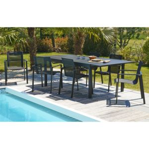 dcb garden salon de jardin 6 places table extensible 180 240x110cm aluminium et 6 fauteuils. Black Bedroom Furniture Sets. Home Design Ideas
