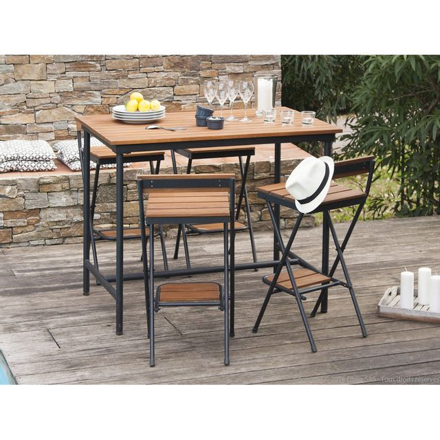 house bay salon de jardin 4 places 1 table haute 4. Black Bedroom Furniture Sets. Home Design Ideas