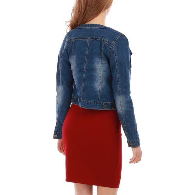 Lamodeuse - Veste en jean délavé bleu col rond